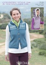 Sirdar Country Style DK - 7121 Hooded Gillet Knitting Pattern
